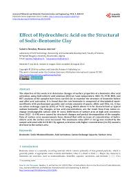 pdf effect of hydrochloric acid on the structural of sodic bentonite clay
