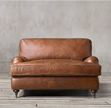 English Roll Arm Leather Chair-and-a-Half #