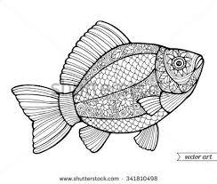 fish ornamental graphic fish fl line pattern vector zentangle coloring book