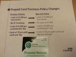 new cvs limit for vanilla reloads prepaid cards limit is 5000 per transaction