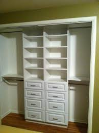 Small Bedroom Closet Organization Compact White Small Closet Design With Drawer And Shelving Storage