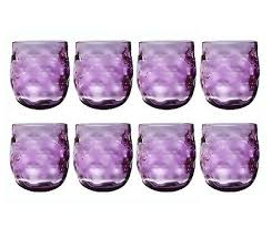 qg clear colorful acrylic plastic 14 oz wine glass rock tumbler set of 8 purple