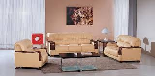creative of beige leather living room set beige leather 3pc modern living room set wwooden armrests