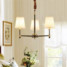 pure brass large luxurious rustic retro vintage brass pendant chandelier with fabric shades special for hotel