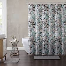 elegant gray mint green beige fabric shower curtain fl paisley print design 72 x
