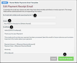 Receipt Email Template How To Edit A Payment Plan Receipt Email Template Rocket Matter