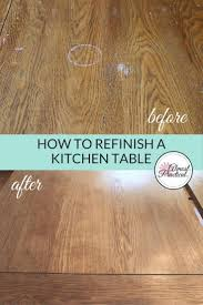 this is how to stain a wood veneer kitchen table top this refinishing diy involves