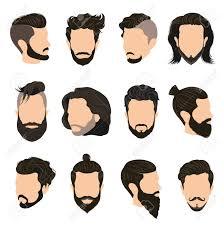 Mannen Kapsel Pictogrammen Die Met Baard En Snor Vlakke Geïsoleerde Illustratie