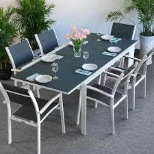Garden Table Set JANINE White U0026 Grey  6 Person Aluminium U0026 Glass Aluminium Outdoor Furniture