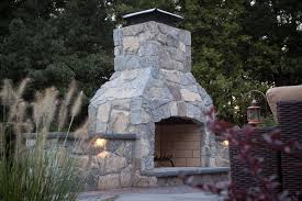 modified 48 contractor series outdoor fireplace kit with natural stone veneer