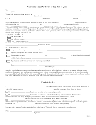 3 Days Pay Or Quit Form California 3 Day Notice To Quit Form Non Payment Of Rent