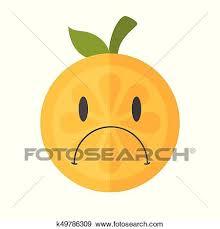 Emoji Sad Orange Feeling Like Crying Isolated Vector