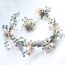 <b>New arrival pink</b> ivory romantic fruit head garland Wreath hairwear ...