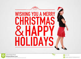 merry christmas and happy holidays text. Simple And Wishing You A Merry Christmas U0026 Happy Holiday Greeting Card Design With  Modern Text Graphic And Image Of Stylish Girl Standing Over White  And Holidays Text