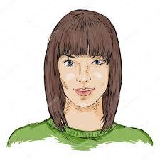 女性の顔をスケッチします女性髪型 ストックベクター Nikiteev