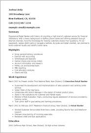 banking resumes professional retail banker templates to showcase your talent