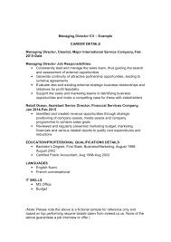 Managing Director Cv Template And Examples Renaixcom