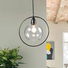 glass globe chandelier antique black single light clear glass globe iron loop pendant chandelier large glass