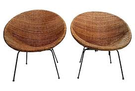 Decoration One Kings Lane Mid Century Modern Wicker Chairs Pair Rocking Chair