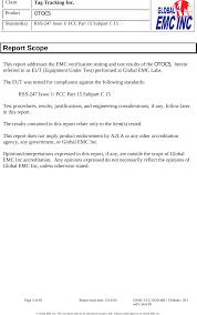 Otocs Wireless Telematics Transceiver Test Report Global Emc