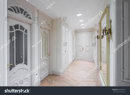 Flat Hall Design Hall Flat Wooden Design White Colors Stock Photo Edit Now
