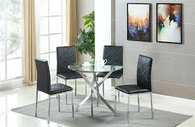 round glass table set round glass dining room table set and 4 chairs faux leather black round glass table set