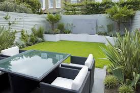 Small Picture Minimalist Small Garden Design with Contemporary Patio Furniture