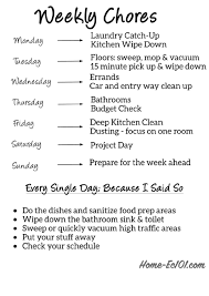 Weekly Household Chore List Weekly Household Cleaning Chores List Printable Pdf Download
