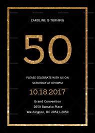 50th Birthday Invitations Templates Elegant Black And Gold 50th Birthday Invitation Template