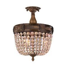 worldwide lighting winchester 3 light antique bronze and golden teak crystal ceiling semi flush
