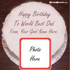 father happy birthday cake wishes photo
