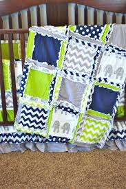 navy blue and green crib bedding elephant lime gray baby boy made to order kelly