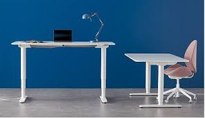 office desk ikea. These Two White BEKANT Desks Have Different Heights Because They An Electric Mechanism That Lets Office Desk Ikea