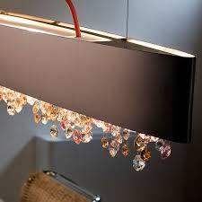 long matt bronze contemporary chandelier
