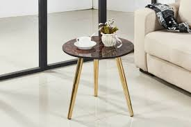 red marble bedside tables look round coffee side tables lamp chrome golden legs