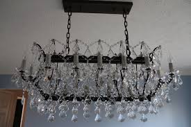 restoration hardware 19th c rococo iron clear crystal rectangular 40 chandelier by
