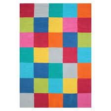color block area rug threshold