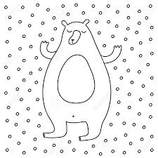 概要漫画甘いクマの雪を楽しむ冬イラストかわいいベクターの黒と白の冬のイラストプリントポスター