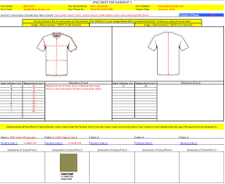 clothing manufacturing agent spec sheets example