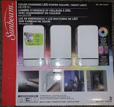 Sunbeam Night Light Power Failure Sunbeam Color Changing Led Power Failure Night Light 3 Pk White