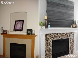 fireplace erin s fireplace makeover white paint on wood mantle glass mosaic tiles