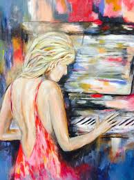 saatchi art artist colette acra painting lady in red playing piano