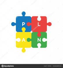 Flaches Design Vektor Konzept Der Vier Teil Jigsaw Puzzle Stücke
