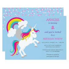 kids birthday party invitations colorful unicorn kids birthday party invitation