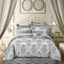 luxury royal silver silk cotton jacquard queen king duvet cover bed set