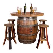wine barrel round top table set cabinet base