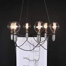 chrome 6 light minimal contemporary chandelier
