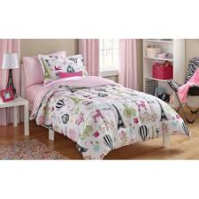 Paris Themed Bedroom Curtains Mainstays Kids Paris Bed In A Bag Bedding Set Walmartcom