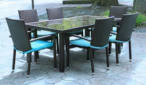 wicker outdoor dining set. 7-Piece Black Resin Wicker Outdoor Furniture Patio Dining Set - Blue Cushions L