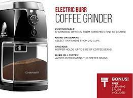 Behind every great barista, there's a great burr grinder. Amazon Com Chefman Coffee Grinder Electric Burr Mill Freshly Grinds Up To 2 8oz Beans Large Hopper With 17 Grinding Options For 2 12 Cups Easy One Touch Operation Cleaning Brush Included Black Kitchen